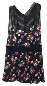 Free People Lace Floral Summer Top Black