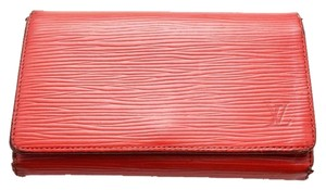 Louis Vuitton 100% Authentic Louis Vuitton Cherry Red Epi Tresor Wallet with Zippered Coin Purse