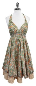Odd Molly Orange Green Paisley Cotton Dress