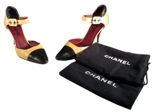 Chanel 2-tone Classic Ankle Strap Beige Black Pumps