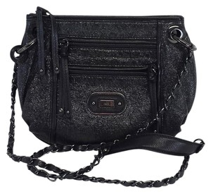 Rafe Black Metallic Leather Cross Body Bag