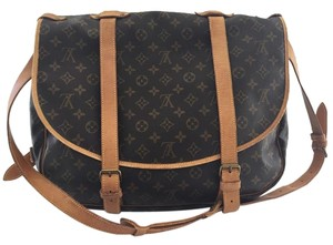 Louis Vuitton Canvas Leather Saumur 43 Monogram Messenger Bag