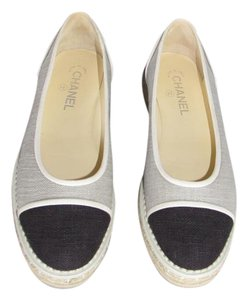 Chanel Ballet Canvas Cap Toe Gray and Black Flats