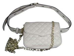 Rebecca Minkoff Leather Quilted Belted Chain Cross Body Bag