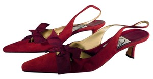 Emma Hope Kitten Heels Slingbacks Pointed Toe Dressy Burgundy Pumps