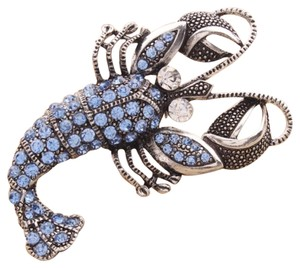 Whimsical Lobster Design Blue Rhinestone Brooch Pin