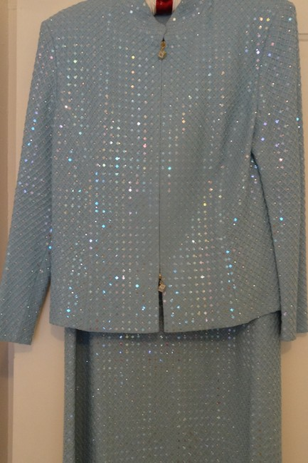 Item - Blue Crystal Embellished Santana Knit Evening Suit By Marie Gray - Price Reduction Formal Bridesmaid/Mob Dress Size 14 (L)