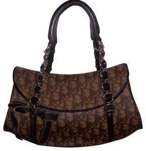 Dior Floral Bow Leather Monogram Satchel in Brown