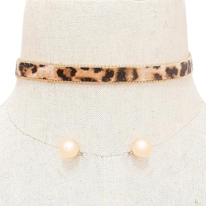 Modern Edge Leopard pattern choker necklace