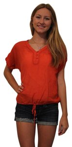 Ann Taylor LOFT Cotton Buttons Petite Casual Top Red