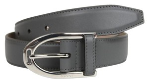 Gucci New Gucci Gray Leather Belt with Silver Buckle 95/38 353340 1217