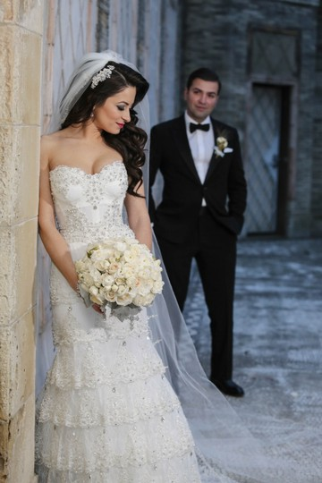 Pnina Tornai Ivory Lace Beads 4143 Formal Wedding Dress Size 4 (S) Image 5