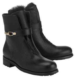 Jimmy Choo Leather Rabbit Gold Black Boots
