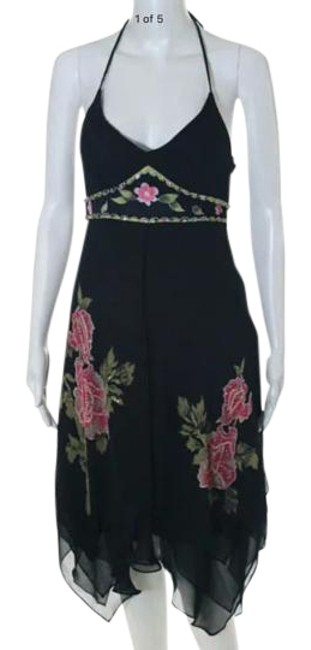 Item - Black/Pink/Green/Beige Multi-color Floral Print Beaded Halter Sz.2 Knee Length Night Out Dress Size 2 (XS)