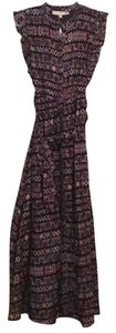 Black with Multi Colored Print Maxi Dress by Carolina K Maxi Tie Waist Cap Sleeves Pleated Sleeves Tribal