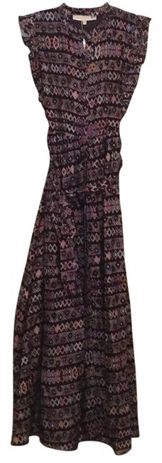 Item - Black with Multi Colored Print Santa Monica Style Name: Long Casual Maxi Dress Size 4 (S)