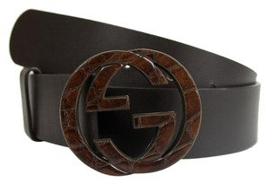 Gucci New Gucci Brown Leather Belt Wooden Interlocking G 90/36 245889 2160