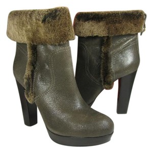 Tory Burch Distressed Fur Trim Ankle Heel gray Boots