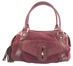 Cole Haan Satchel in Wine Suede w/Leather Trim