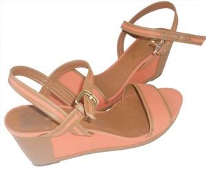 Franco Sarto Apricot with brown trim Wedges