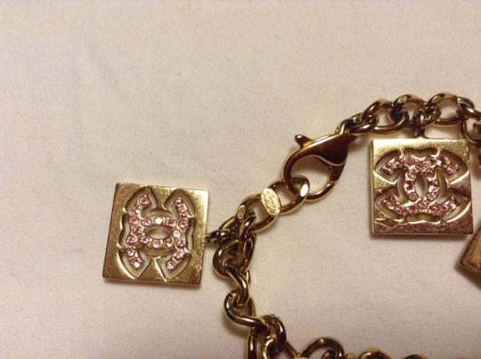 Chanel Chanel Bracelet CC Logo Crystal Pink Square Charm No 5 19 Gold 02P Italy Authentic Classic Bag
