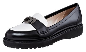 DKNY Calf Leather Calfskin Dressy Work Loafers Black and White Flats