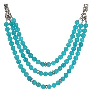 Fossil Fossil Teal Blue Dyed Jade Beaded Triple Row Necklace