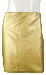 Ralph Lauren Leather Mini Metallic Skirt Gold