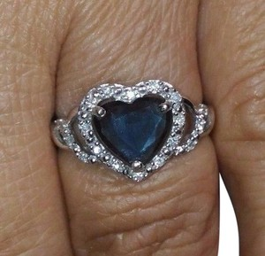 1.26CT NATURAL HEART SHAPE BLUE SAPPHIRE&DIAMOND 14k WHITE GOLD RING