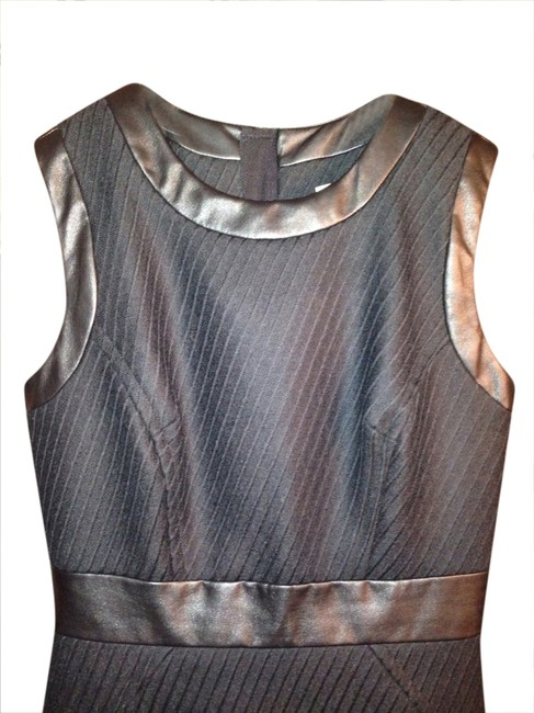 MILLY Leather Chevron Sleeveless Structured Made In Usa Dress