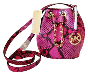 Michael Kors Mini Frankie Snake Embossed Leather Lined Cross Body Bag