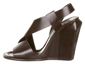 Marc Jacobs Leather Wedge Brown Wedges