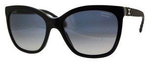 Chanel Chanel 5288 Q Sunglasses CC Logo Black Quilted Silver Butterfly Cat eye Acetate Polarized Oversized
