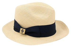 Tory Burch Classic Grosgrain Fedora Hat Natural Straw/Tory Navy One Size
