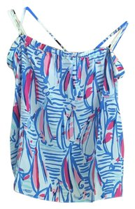 Lilly Pulitzer White/Red/Blue Halter Top