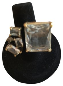 J.Crew J. Crew Gold-Tone Crystal Statement Ring (Size 5)
