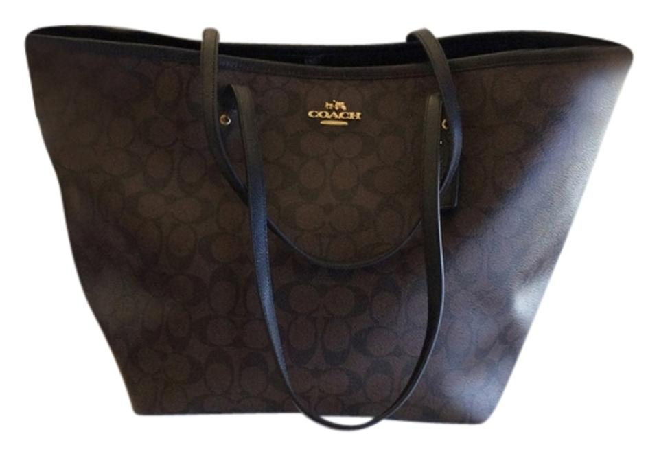 Coach Taxi Signature Zip Top Street Large Brown Black F34105 Brown Leather  Tote f7d7e29876c6e