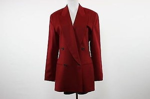 Donna Karan Donna Karan York Womens Red Blazer Sx Long Sleeve 100 Wool Jacket