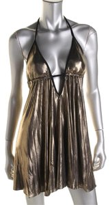 Hotsauce Style Hotsauce Style Bronze Metallic Halter Party Babydoll Dress S NWOT