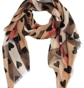 Burberry Burberry Check & Heart Pattern Scarf New With Tags