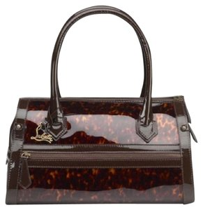 Christian Louboutin Patent Leather Satchel in Tortoise/Brown
