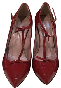 Gucci Vernice Crystal Bed T-strap Red Pumps