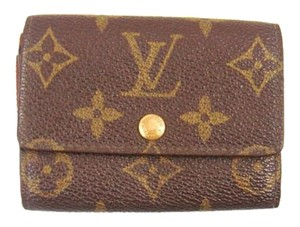 Louis Vuitton Monogram Canvas Leather Port Monnaie Plat Coin Purse Wallet