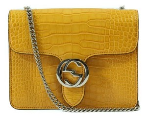 Gucci 387609 Interlocking G Crocodile Curcuma Shoulder Bag