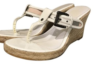 Burberry Espadrille Patent Leather White Wedges