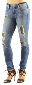 True Religion Distressed White Stretchy Skinny Jeans-Acid