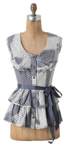 Anthropologie Patchwork Blue Ruffle Sleeveless Top