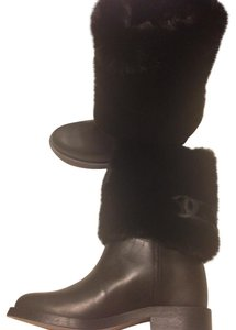 Chanel Leather Fur Designer Black Boots