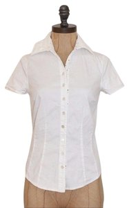 Anthropologie Odille Stretchy Button Down Shirt WHITE