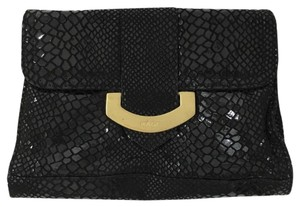 KAGE Snake Embossed Gold Hardware Night Out Date Night BLACK/ GOLD Clutch